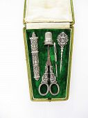 Antique French Silver Sewing Implements