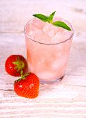 Strawberry Slush In Glass With Fruits And Mint
