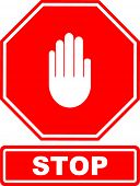 stop sign with hand