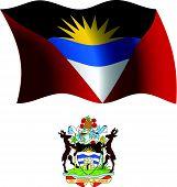 Escudo y bandera ondulado de Antigua y Barbuda