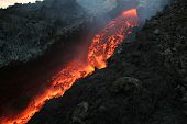 pic of magma  - Etna vulcan lava magma in Sicily during an eruption - JPG
