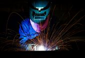picture of welding  - Welding on steel structure in manufracturing factory - JPG
