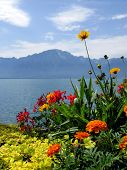 foto of montre  - View from the embankment in the famous European resort Montreux - JPG
