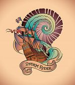 Old-school styled tattoo of a galleon on the background of a great water swirl. Editable vector illu