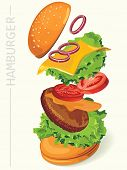 Fastfood hamburger-flying ingredients of hamburger. Vector illustration