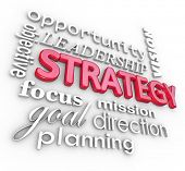 The word Strategy and related terms in a 3d collage background, including planning, objective, focus