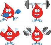 Blood Drop Cartoon Characters. Set Collection 1