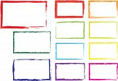 picture of paint spray  - Vector set of grunge square brush strokes for frames - JPG