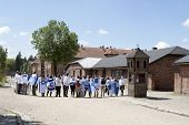 OSWIECIM, POLAND - MAY 26: Jewish youth group visits the concentration camp in Oswiecim, Poland on M