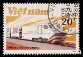 VIETNAM - CIRCA 1988: A stamp printed in Vietnam shows locomotive LRS produced in Canada, circa 1988