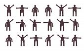 People Minimalistic Icons Set. Symbols Of Standing Bodily Movements