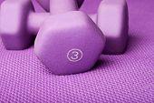 Three pound weight on a purple yoga mat