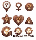 Woman Icon Set Of Wooden 3D Buttons