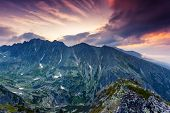 Beautiful view of mountain landscape in National Park High Tatra. Dramatic overcast sky. Slovakia, Europe. Beauty world.