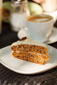 stock photo of sponge-cake  - carrot cake with coffee - JPG
