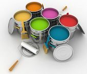 open buckets with a paint, brush and rollers. 3d illustration on white background.