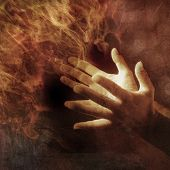 image of dharma  - Hands lit up with energy light - JPG