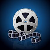 pic of twist  - Film reel and twisted cinema tape on blue background - JPG