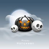 stock photo of bitch  - Scary Halloween Pumpkin with skull in moonlight sky background - JPG