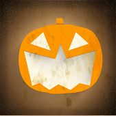 Smiling Halloween Pumpkin on vintage brown background. Can be use as poster, flyer or banner for Hal