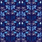 Seamless blue garden flower branch decorative background pattern in vector