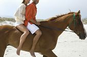 stock photo of riding-crop  - Side view of a cropped couple riding horse on beach - JPG