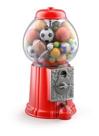 stock photo of gumball machine  - 3D concept with gumball machine with sport balls - JPG