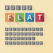 Rounded Flat Font And Numbers In Square, Eps 10 Vector, Editable For Any Background, No Clipping Mas