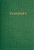 foto of passport cover  - vector green leather passport cover  - JPG