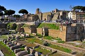ROME, ITALY - APRIL 17: Roman Forum on April 17, 2013 in Rome, Italy. The Roman Forum is one of most popular tourist attractions of Rome