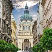 St. Stephen`s Basilica And Zrinyi Utca Street