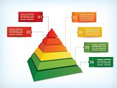 Presentation template with a pyramidal diagram symbolizing hierarchy or other differences - raster v