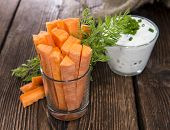 stock photo of crudites  - Fresh made Carrot Sticks in a glass  - JPG