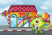 Illustration of a monster in front of the toy shop