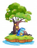 Illustration of an island with a tree house and a monster with a child on a white background