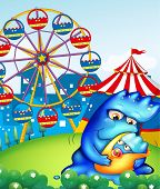 Illustration of a carnival with a mother monster carrying her baby