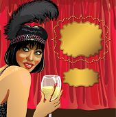 Funny Girl With Glass Of Champagne.red Curtain.cabaret.retro