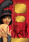 Funny Girl With Gloved Hand.cabaret Dancers.retro