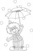 image of circus clown  - Funny clown holding an umbrella - JPG