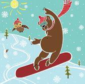 Brown Bear Jumps On Snowboard.humorous Illustration