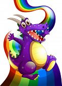 Illustration of a playful violet dragon and a rainbow on a white background