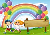 foto of indigo  - Illustration of an empty board and two kids playing below the floating balloons and rainbow - JPG