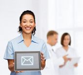healthcare, connection, medicine and technology concept - smiling african american female doctor or