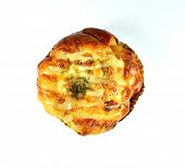 image of shredded cheese  - bread bakes with dried shredded pork mayonnaise bacon cheese and sweet corn - JPG