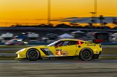 Daytona Beach, FL - Jan 25, 2014:  The Corvette Racing Chevrolet travels through the turns during Ro