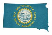 Grunge state of South Dakota flag map isolated on a white background, U.S.A.