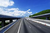 asphalt road in Hongkong, blue sky