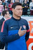 CARSON, CA. - FEB 01: USA assistant coach Martin Vasquez during the U.S. mens national team soccer friendly against Korea Republic on Feb 1st 2014 at the StubHub Center in Carson, Ca.