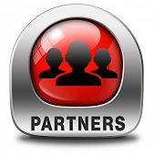 Partners red icon our business partnership and cooperation group in team work