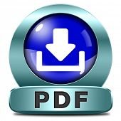 pdf file or document download blue button or icon